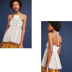 Floreat ANTHROPOLOGIE Boho Embroidered Halter Top